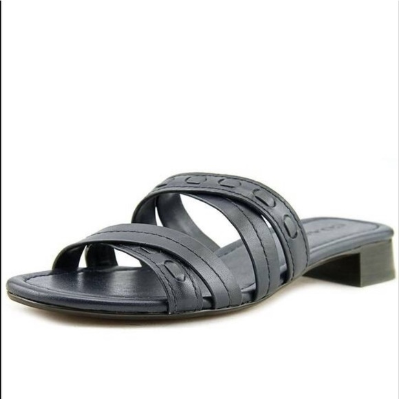 Navy Blue Leather Ariana Sandals 8b